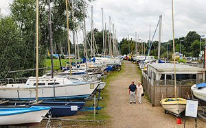 Andy's main riverside yard with a host of boats always on display